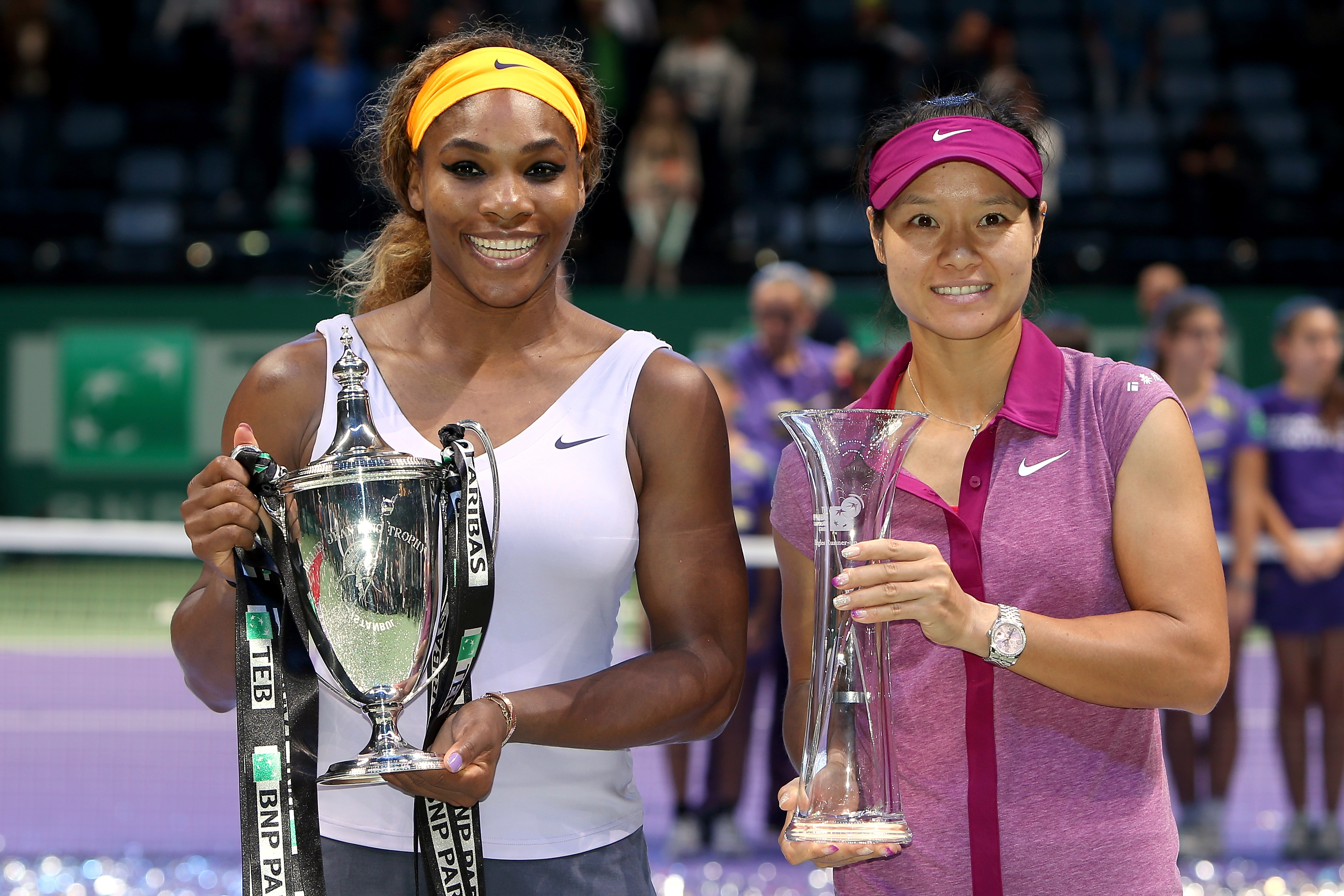 Serena Williams won her fourth WTA Finals title, beating Li Na in three sets in the final.