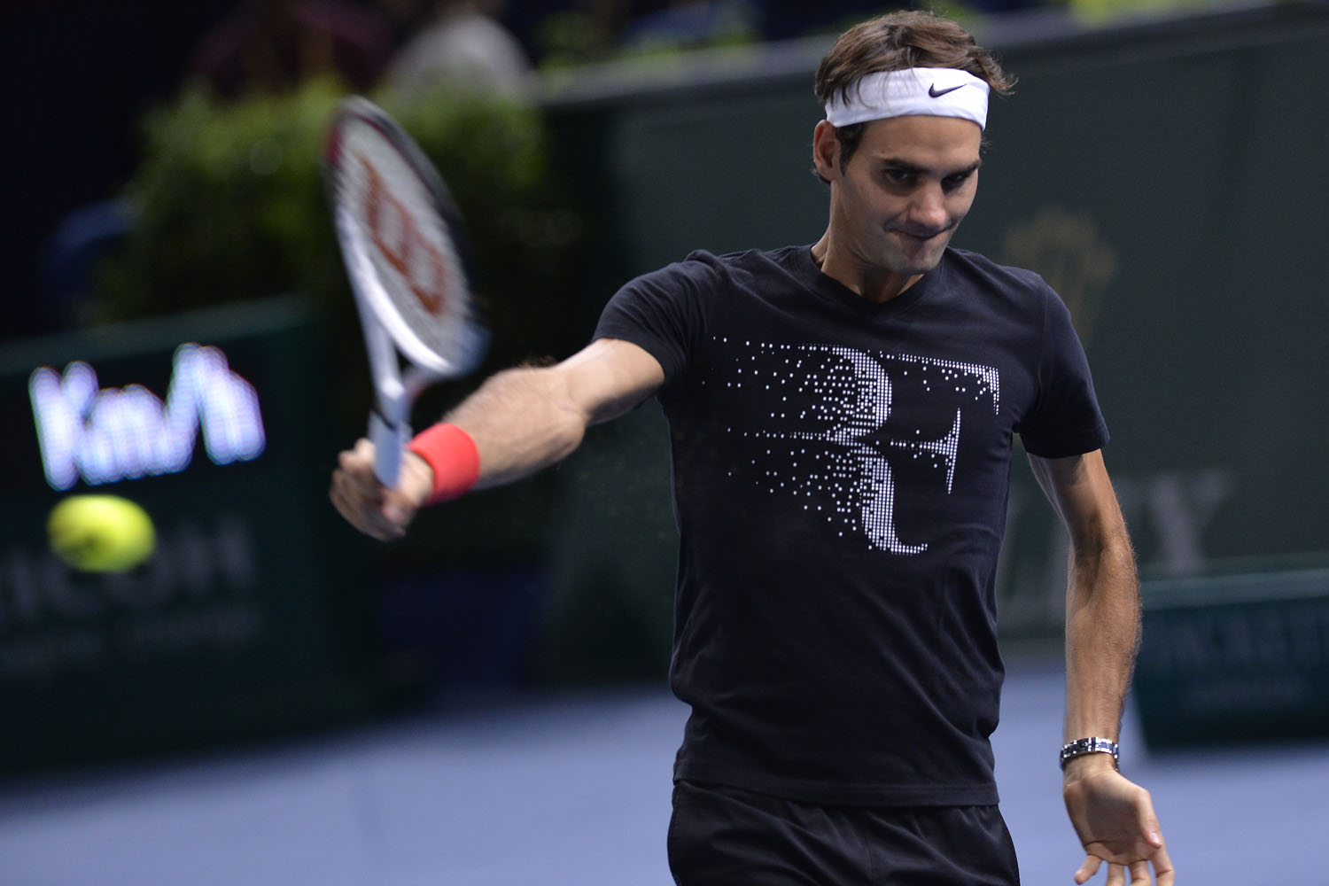 Switzerland's Roger Federer attends a training session at the ninth and final ATP World Tour Masters 1000 indoor tennis tournament on October 28, 2013 at the Bercy Palais-Omnisport (POPB) in Paris.