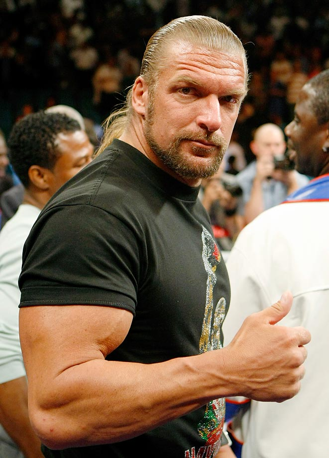 Wrestlers love boxing, too. WWE star Triple-H supported Floyd Mayweather in his ring return against Juan Manuel Marquez.