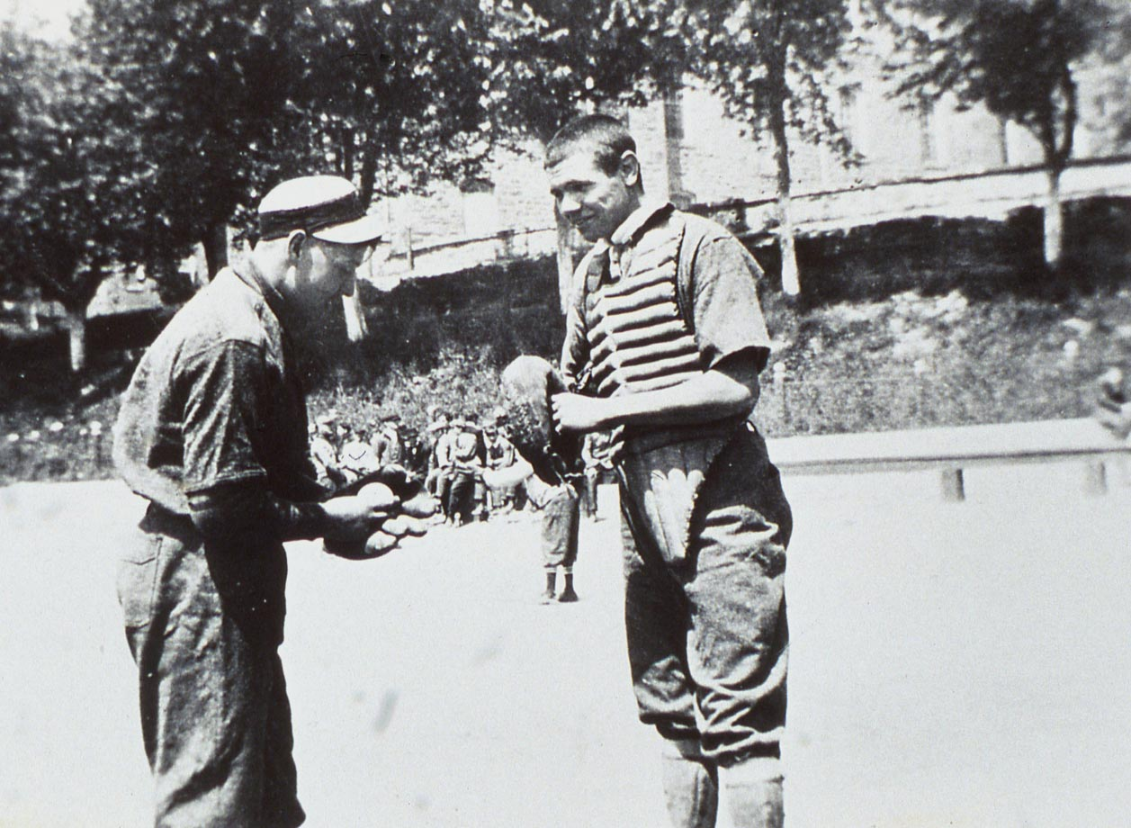 St. Mary's catcher Babe Ruth chats with a teammate in 1912.