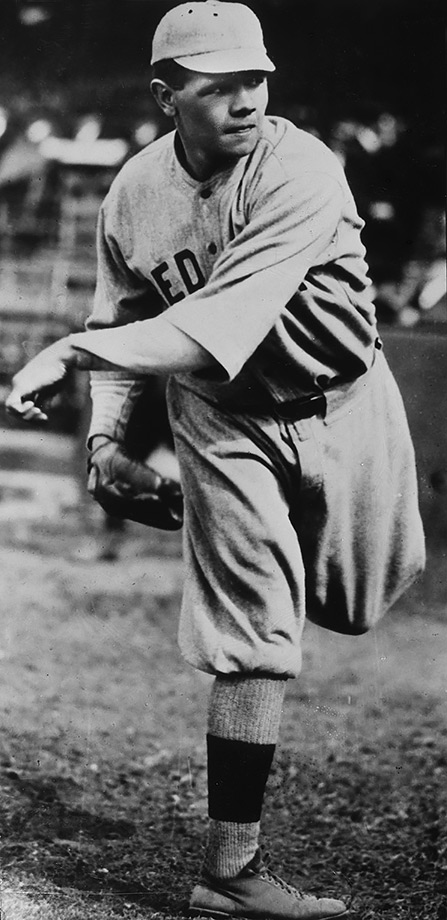Before becoming the greatest slugger in baseball history for the Yankees, Babe Ruth was an excellent pitcher for the Red Sox. He was at his best in the 1916 World Series, when he pitched all 14 innings of a 2-1 win, allowing just six hits and three walks. Ruth kept Brooklyn scoreless for the last 13 innings, starting a streak of 29 1/3 consecutive scoreless innings in the World Series, a record that stood until 1961.
