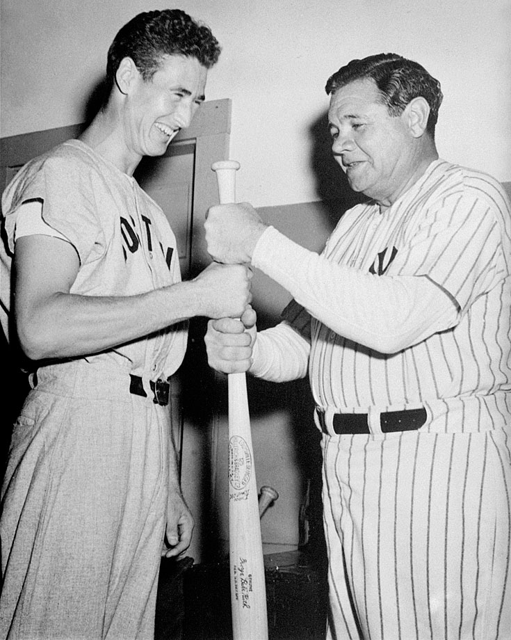The legendary Babe Ruth and Ted Williams choose sides schoolyard style before a hitting contest at a Field Day in Boston in 1942.