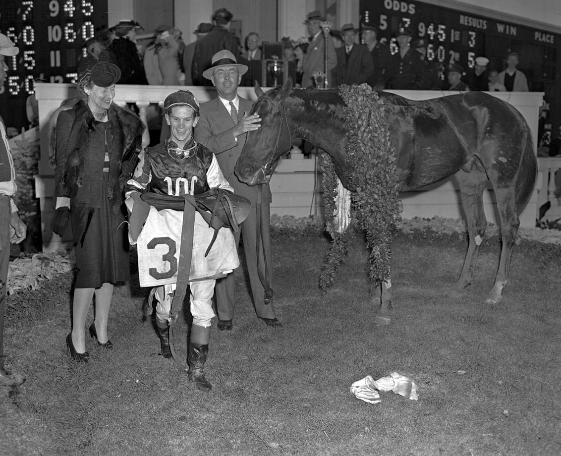 "Despite a deformed right hoof and noticeable limp, earning him the nickname ""The Clubfooted Comet,"" Assault came from five lengths back in the stretch to win the Belmont, and the Triple Crown, by three lengths."