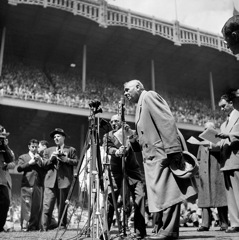 "Babe Ruth thanks the crowd at Yankee Stadium for their ovation on ""Babe Ruth Day,"" April 27, 1947."