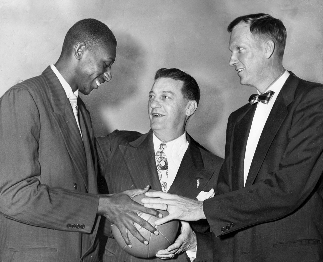 Earl Lloyd, a forward known for his defense who played collegiately at West Virginia State College, was selected in the ninth-round of the 1950 NBA Draft by the Washington Capitols.