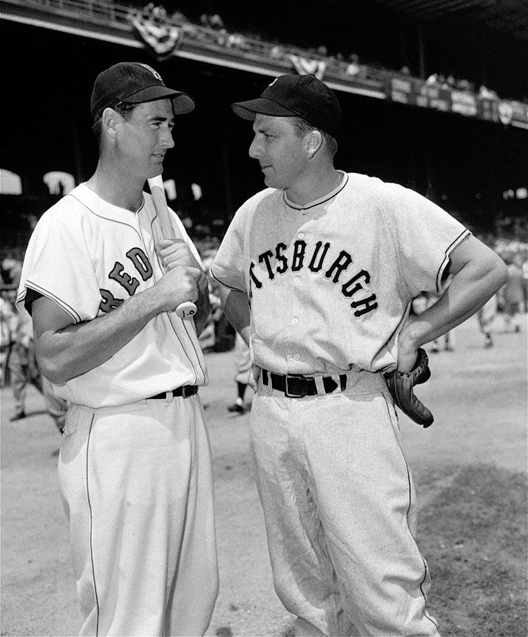 Ralph Kiner of the Pittsburgh Pirates chats with Ted Williams prior to the 1950 All-Star game at Chicago's Comiskey Park.