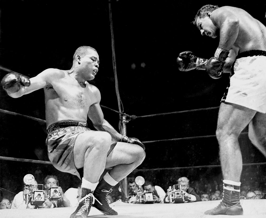 "Call this Exhibit A for the old boxing adage that it never ends pretty. Fighting on only for the money, Louis beat a series of lesser fighters before signing to face undefeated up-and-comer Rocky Marciano. The crude but brutally strong and powerful Marciano reportedly hated the thought of having to fight his aging hero, but when the moment came in Madison Square Garden, he didn't hold back. Marciano battered Louis throughout, finally knocking him through the ropes to end it in the eighth round. Red Smith's column on the fight ended with this memorable paragraph: ""An old man's dream ended. A young man's vision of the future opened wide. Young men have visions, old men have dreams. But the place for old men to dream is beside the fire."""