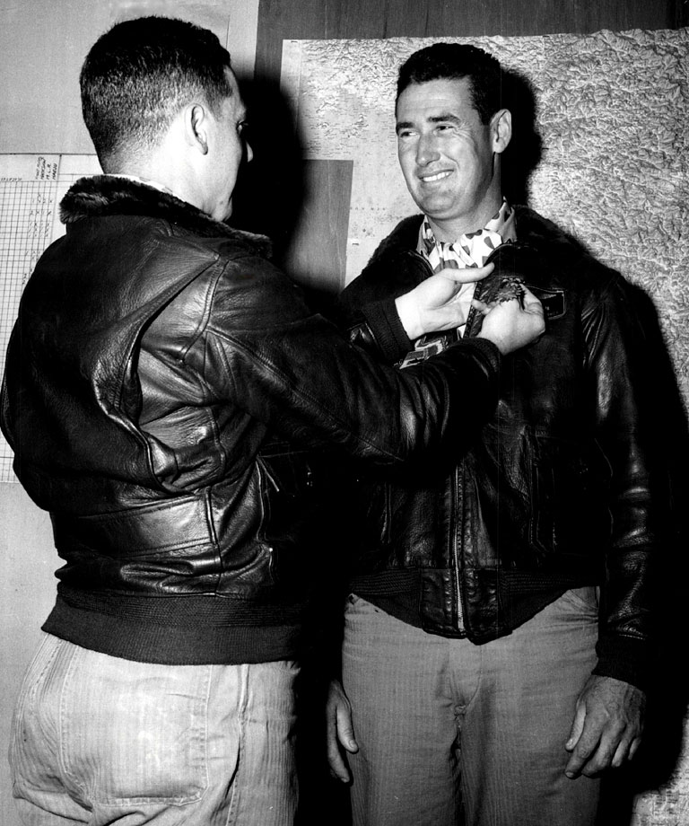 Ted Williams is awarded the Air Medal with Two Gold Stars in 1953.