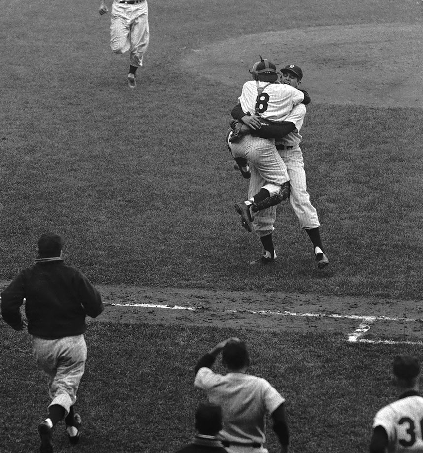 Don Larsen was knocked out of his Game 2 start by Brooklyn after less than two innings, but he was back on the mound for Game 5. Larsen retired all 27 Dodgers batters for the first — and still only — perfect game in World Series history as the Yankees won 2-0. New York went on to win the Series in seven games.