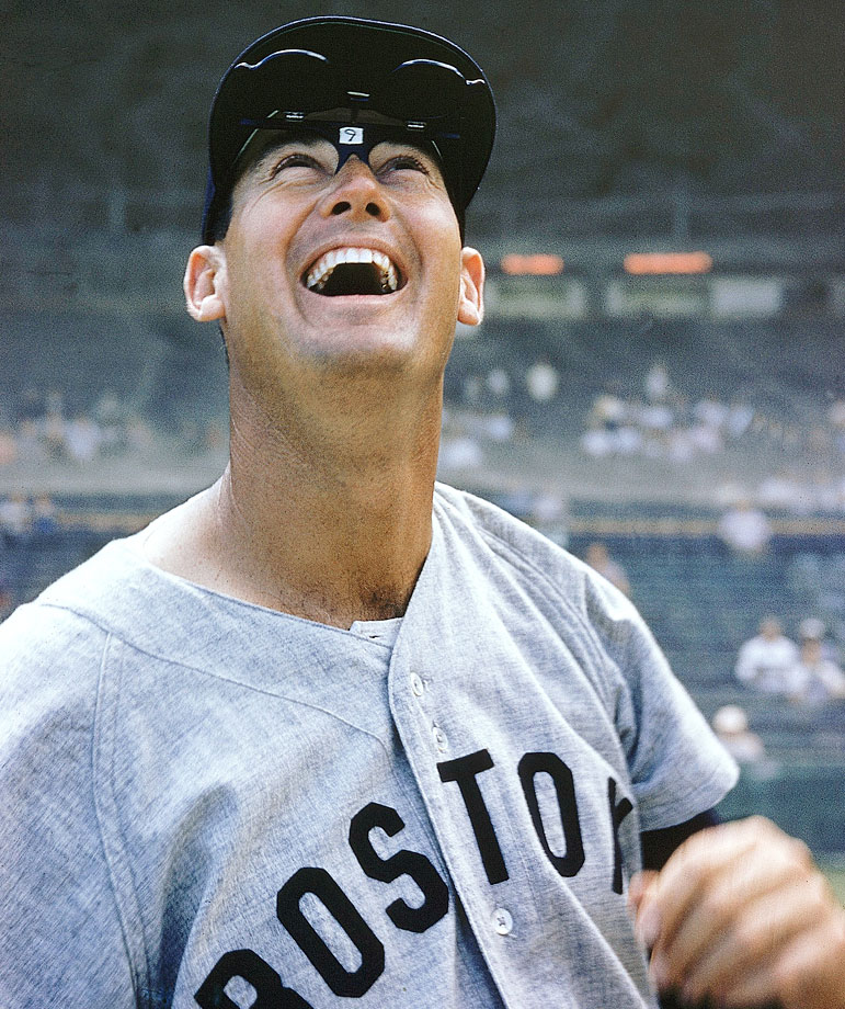 Ted Williams laughes during spring training in 1956.