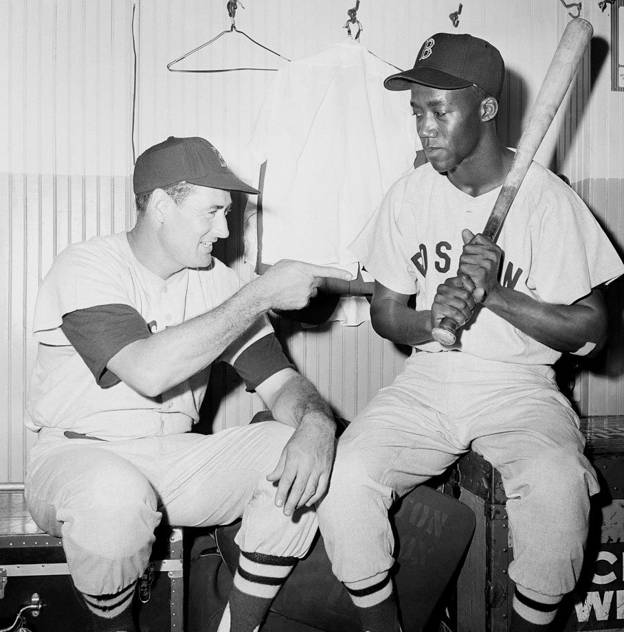 "Elijah ""Pumpsie"" Green, the first African-American to ever play for the Red Sox, gets some pointers from Ted Williams in 1959."