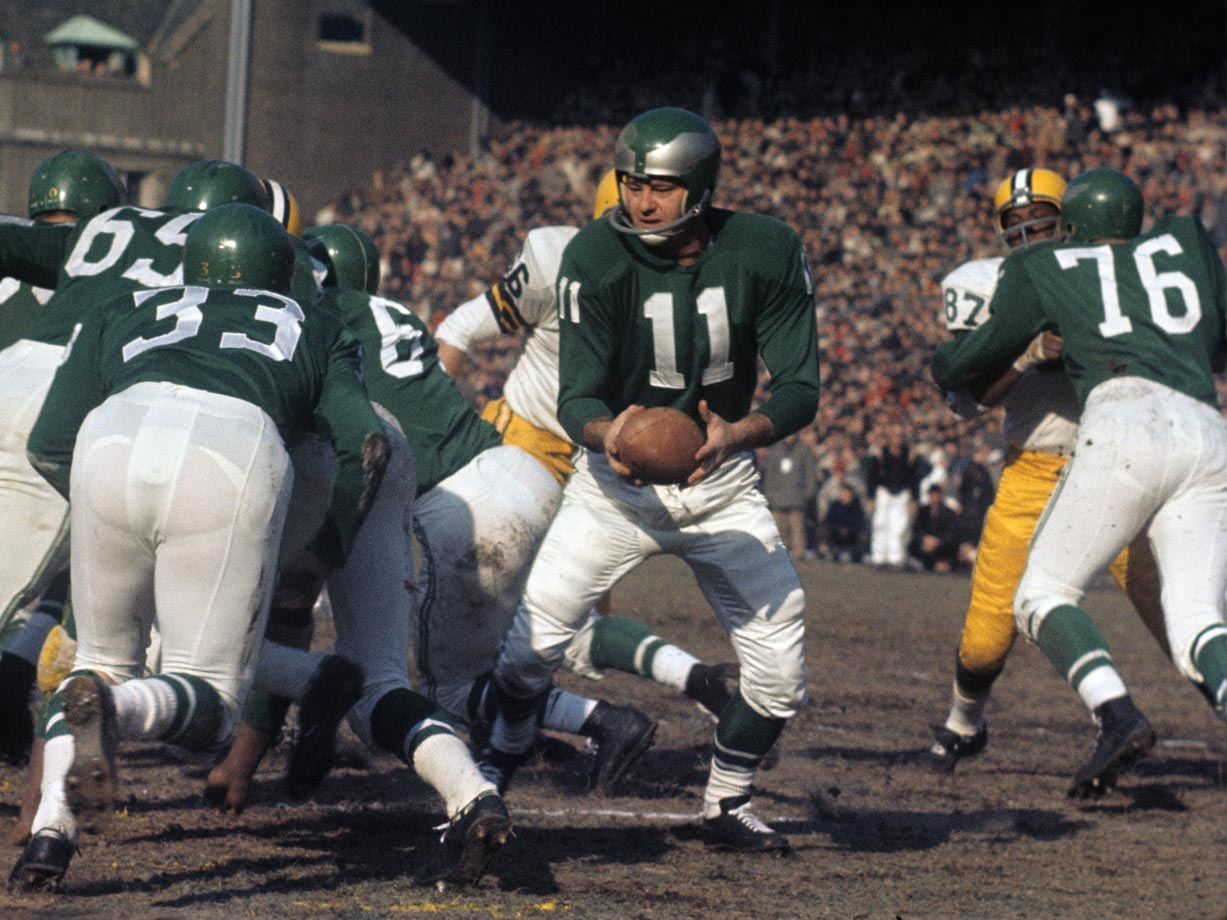 Traded to Philadelphia late in his career, Van Brocklin saved the best for last in 1960, leading the lightly regarded Eagles to the Eastern Conference crown. He finished second in passing yards, touchdown passes and passer rating, and fourth in punting. He was selected the league's MVP. Van Brocklin, 34, capped his career by guiding the Eagles to the 1960 NFL championship, passing for more than 200 yards and twice coming from behind to top the Green Bay Packers 17-13, the only playoff defeat during Vince Lombardi's tenure with the Pack.