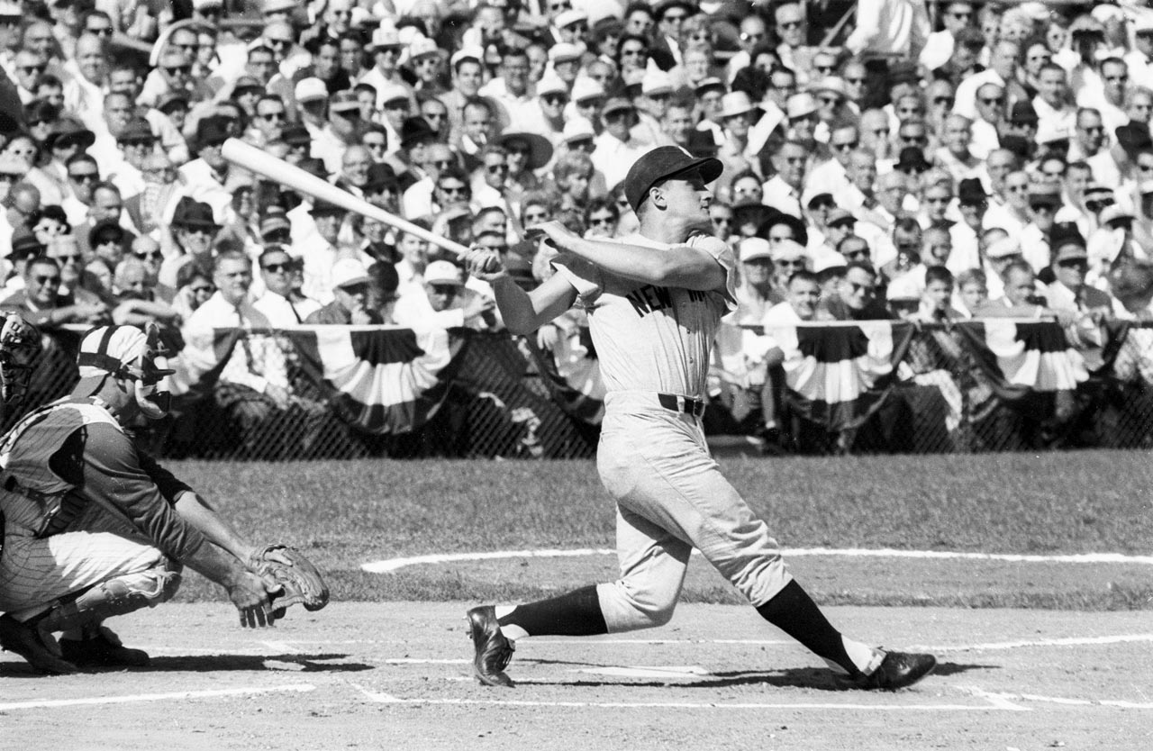 Roger Maris bats in Game 4 of the World Series against the Reds at Crosley Field in Cincinnati on Oct. 8, 1961.