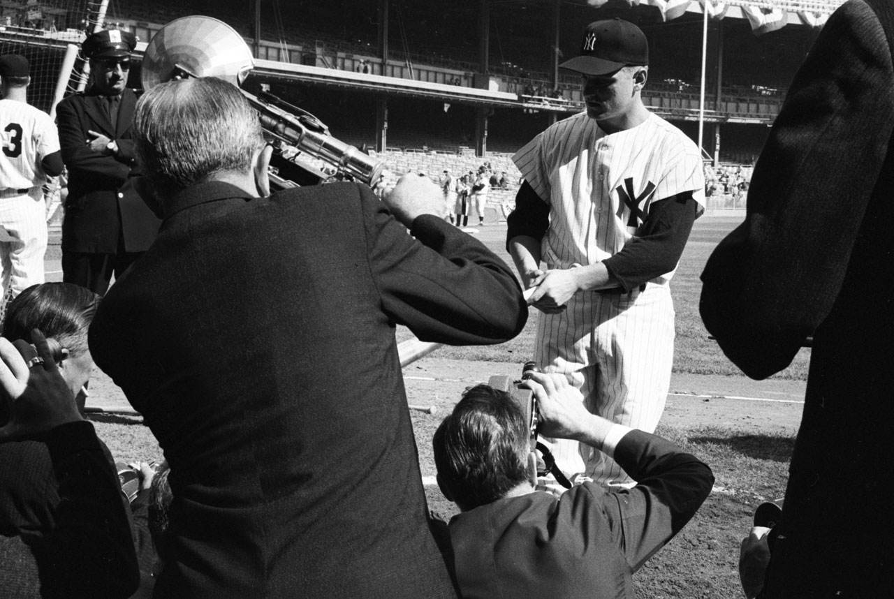 Roger Maris poses for photographers before Game 2 of the World Series against the Cincinnati Reds at Yankee Stadium on Oct. 5, 1961.