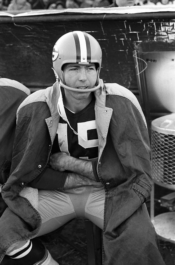 Pictured here on the sidelines during the 1961 NFL Championship Game, Bart Starr helped lead his team to a 37-0 victory over the New York Giants at City Stadium in Green Bay, Wisc. (Text credit: Shannon Carroll)