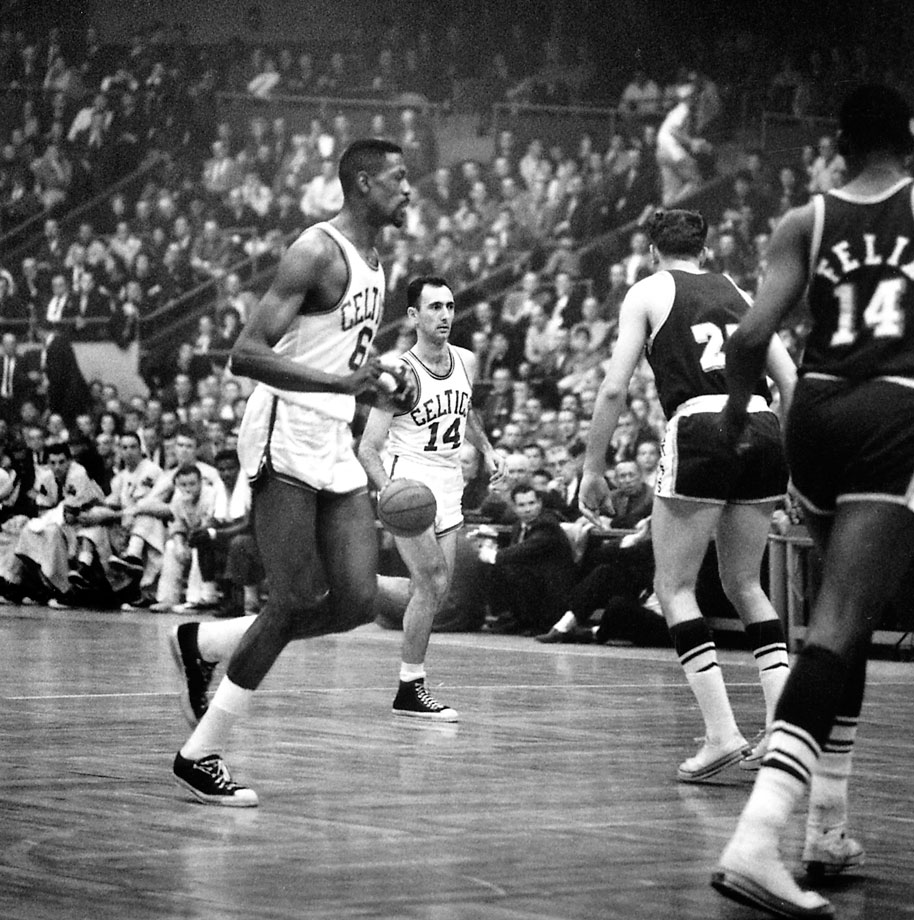 In one of the greatest winning-take-all games in NBA history, the Celtics beat the Lakers 110-107 in overtime behind Bill Russell's 30 points and 40 rebounds. Bob Cousy memorably dribbled out the clock.