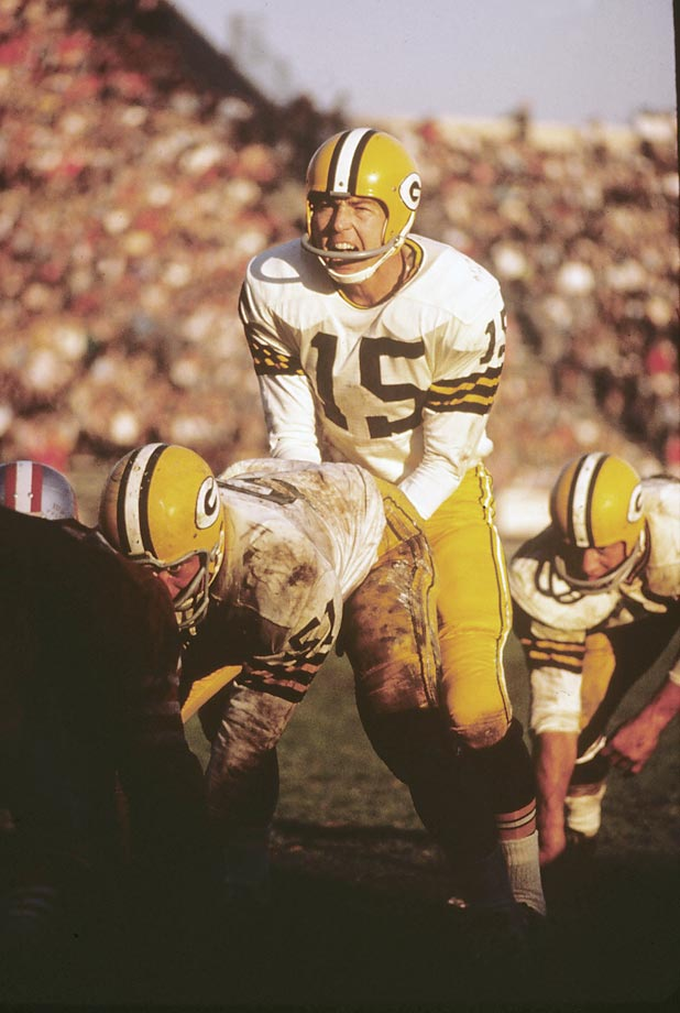 In the 1962 season, Bart Starr had his highest passer rating (90.7) and pass completion percentage (62.5, the best of his career), as well as the lowest interception percentage (3.2). (Text credit: Shannon Carroll)