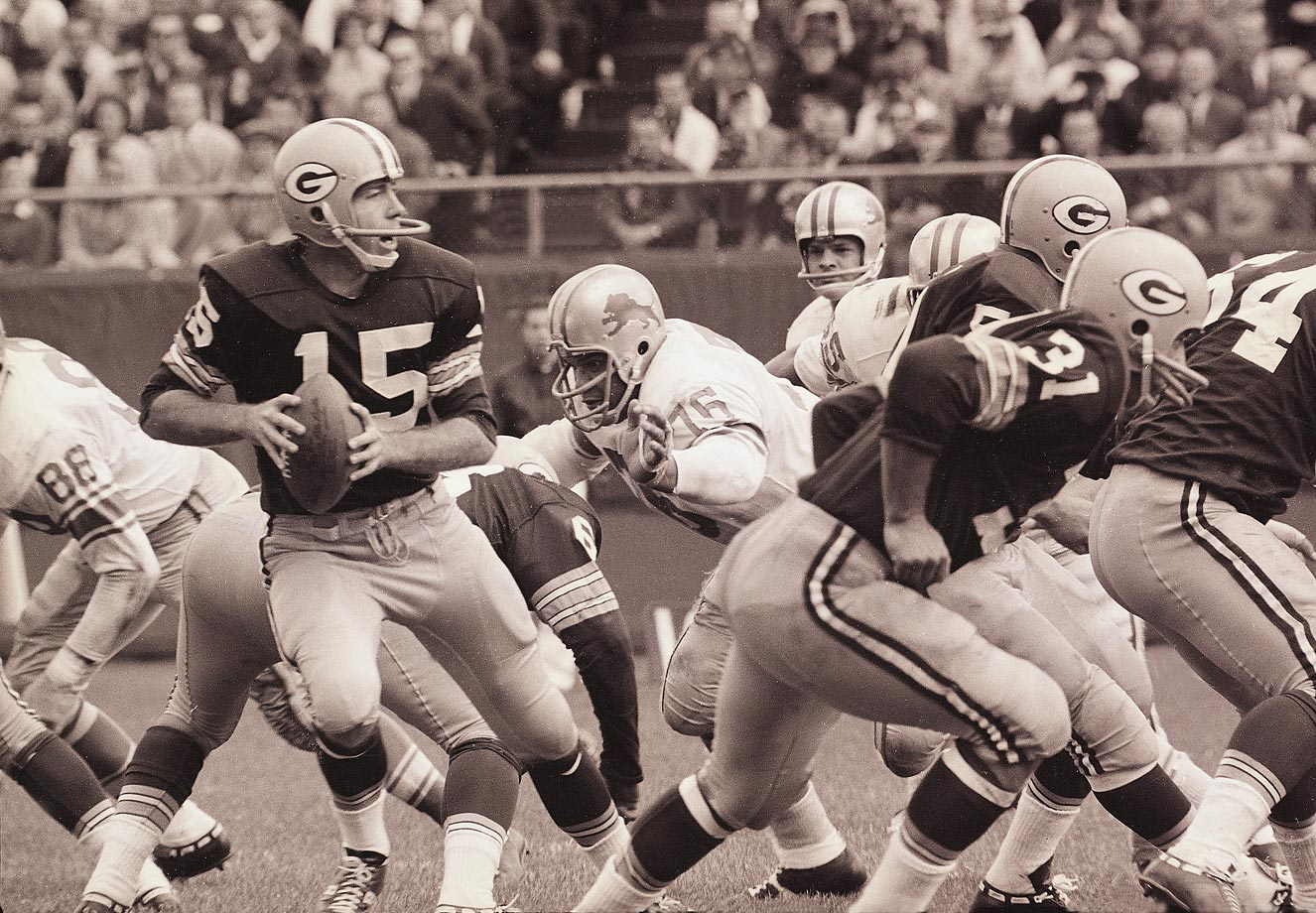 Over the course of Bart Starr's 10 years in the NFL, the league had 72 ties, including this one between the Packers and the Lions that ended 13-13. Due to a rule change, since 1974 there have only been 20 ties. And, until 1972, tie games weren't counted in the standings. (Text credit: Shannon Carroll)