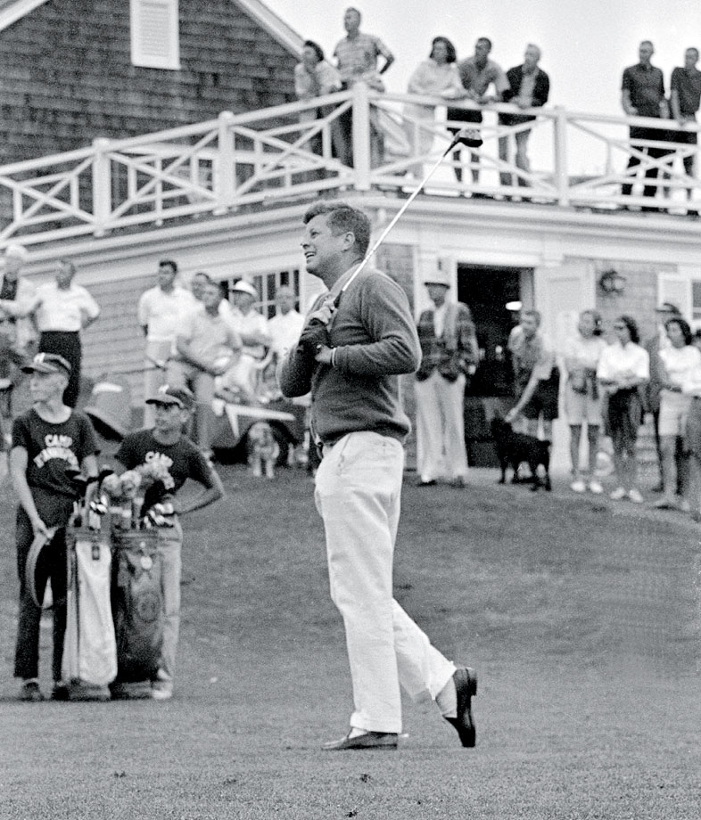 John F. Kennedy tees off in 1963 at The Hyannis Port Country Club in Massachusetts.