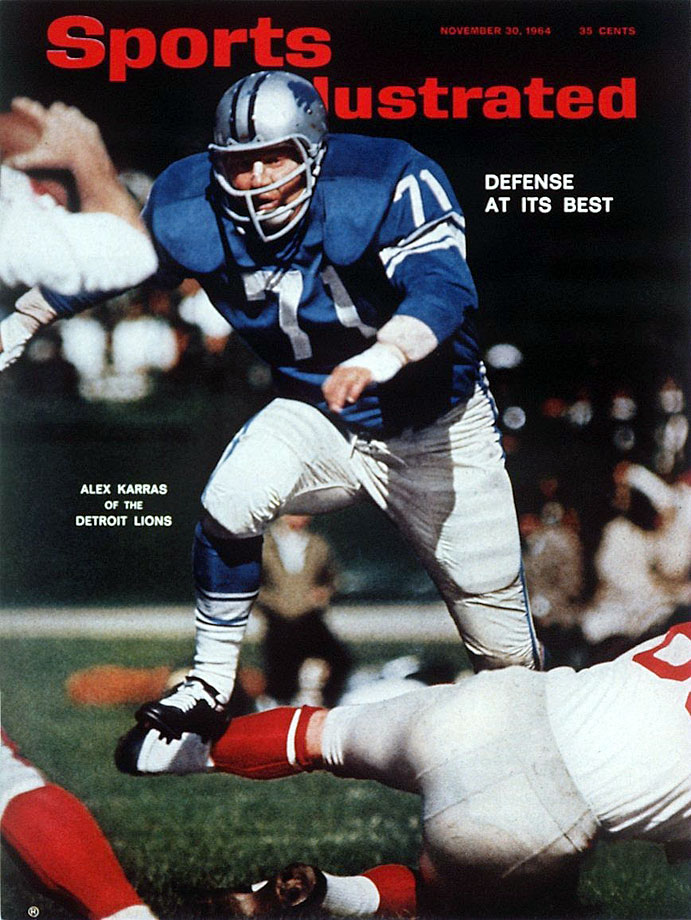 Alex Karras appears on the cover of SI, hurdling a player during the Detroit Lions game against the New York Giants on Oct. 5, 1964 in Detroit.