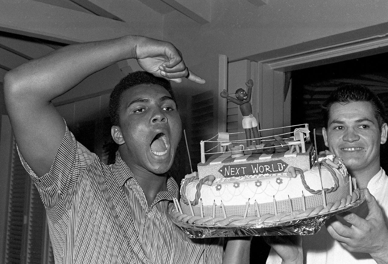 Muhammad Ali received this cake on his 22nd birthday, and one month later he won the World Heavyweight titles.