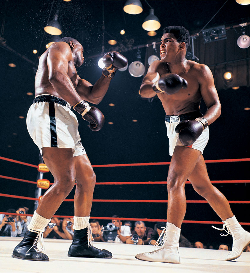 Liston, one of the most feared heavyweight champions in history, was a 7-1 favorite over the young challenger known as the Louisville Lip. But Ali, here stinging the champ with a right, used his dazzling speed and constant movement to dominate the action and pile up points. Battered and discouraged, Liston would quit on his stool before the start of the seventh round, and Ali, at 22, would become the new champ.