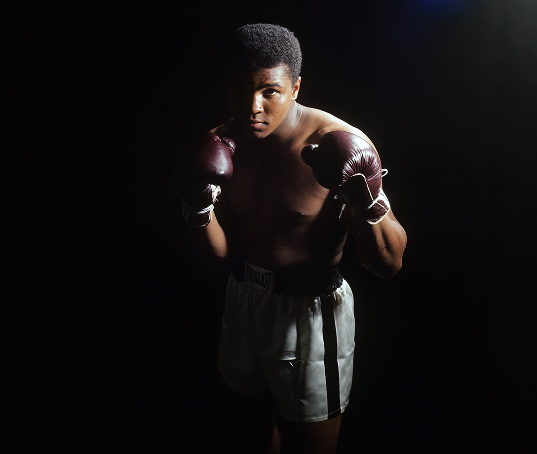 Draped in shadow, the young king — now known as Muhammad Ali — stared down the camera during a photo shoot in April 1965, one month before his rematch against Sonny Liston.