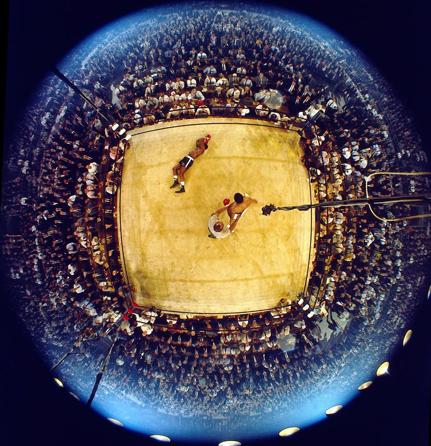 The fight lasted just two minutes and eight seconds, but Leifer managed to capture a third memorable photo with this overhead fisheye photo of Ali's knockout of Liston.