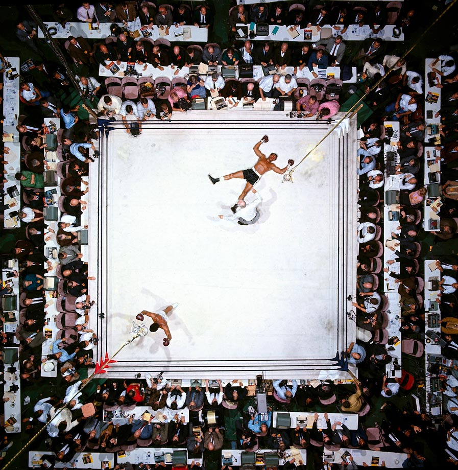 Muhammad Ali victorious after a 3rd round knockout of Cleveland Williams