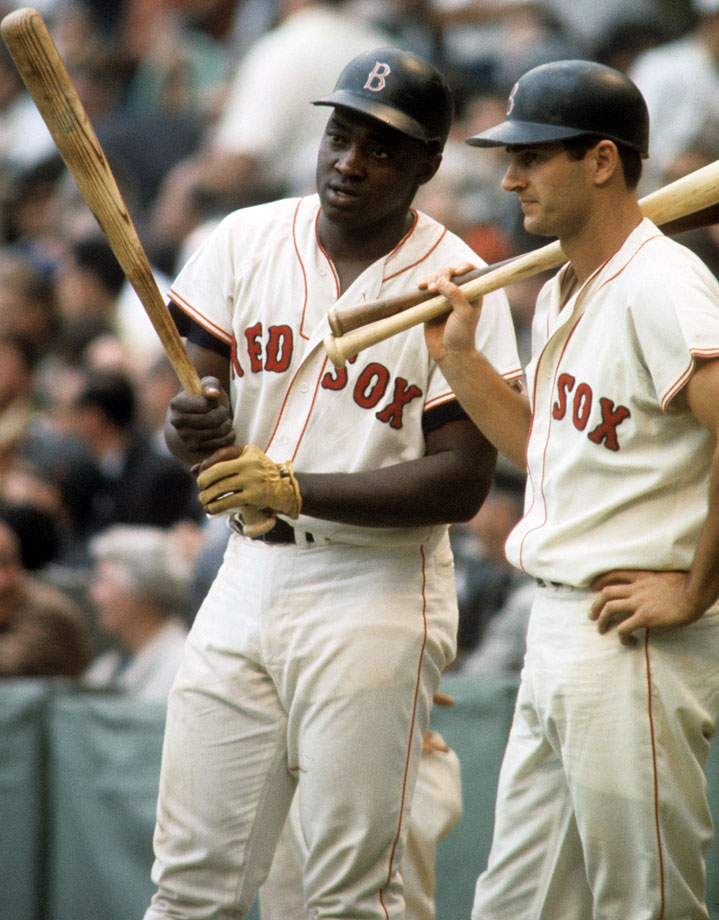 George Scott and Carl Yastrzemski stand in the on-deck circle during Game 1 of the World Series on Oct. 4, 1967 at Fenway Park in Boston.