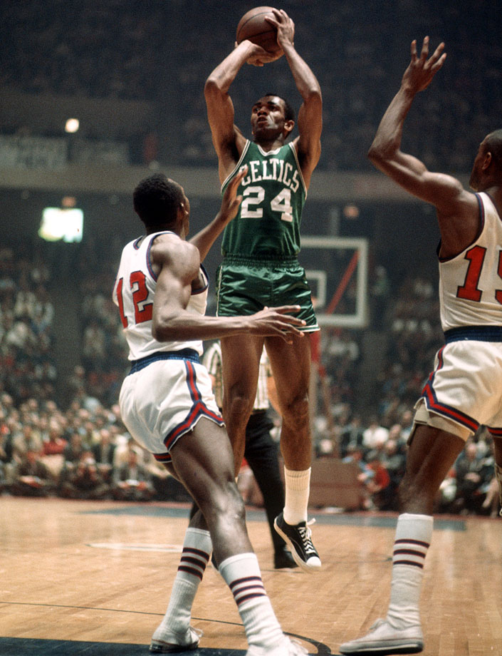 """""""Mr. Clutch"""" Sam Jones led the Celtics with 22 points in Game 7 as Boston became the first team in NBA history to comeback from a 3-1 series deficit, defeating the defending champion 76ers."""
