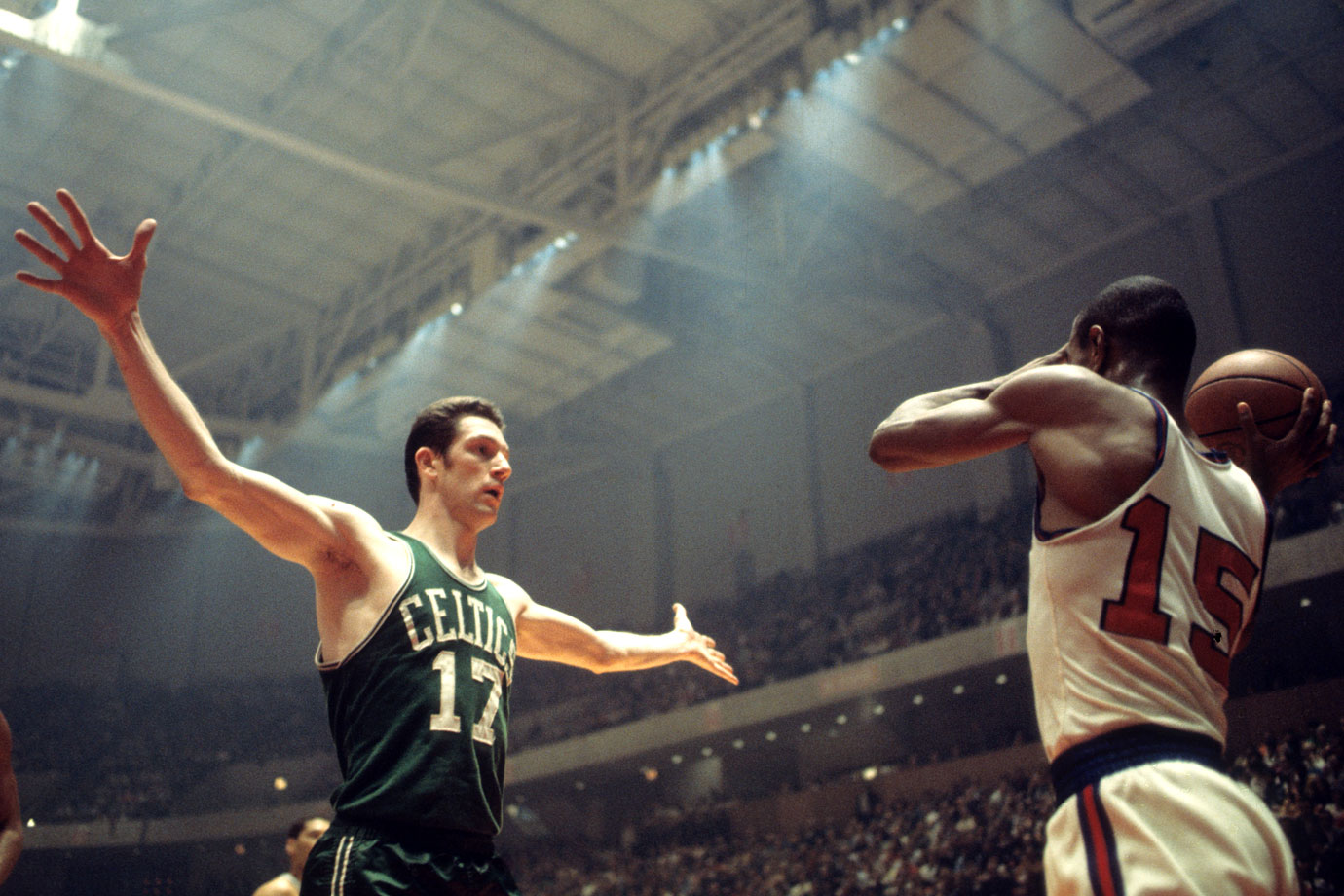 John Havlicek looks to defend an inbounds pass by Hal Greer, who was not looking to make the same mistake twice, during Game 1 at The Spectrum in Philadelphia. The Celtics won the game but lost the next three to the 76ers. However, Boston would become the first team in playoff history to come back from a 3-1 series deficit, winning the series and then their 10th championship, once again over the Lakers.