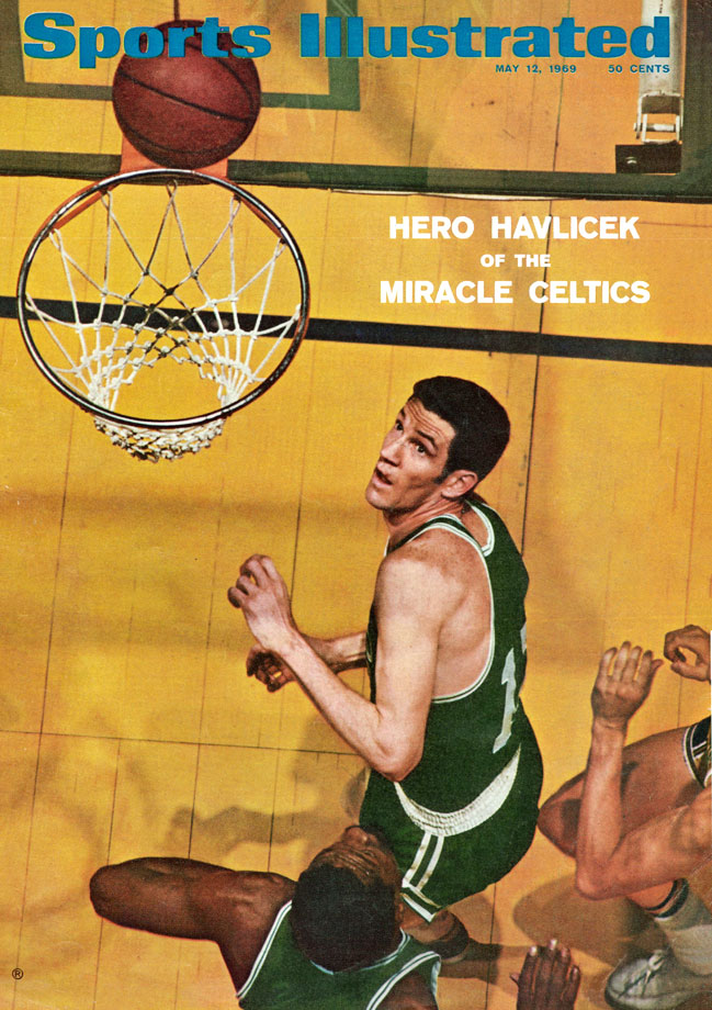 John Havlicek and Bill Russell look to rebound during NBA Finals between the Celtics and Lakers. Boston became the first team to come back from a 2-0 series deficit in the NBA Finals, winning their 11th championship.