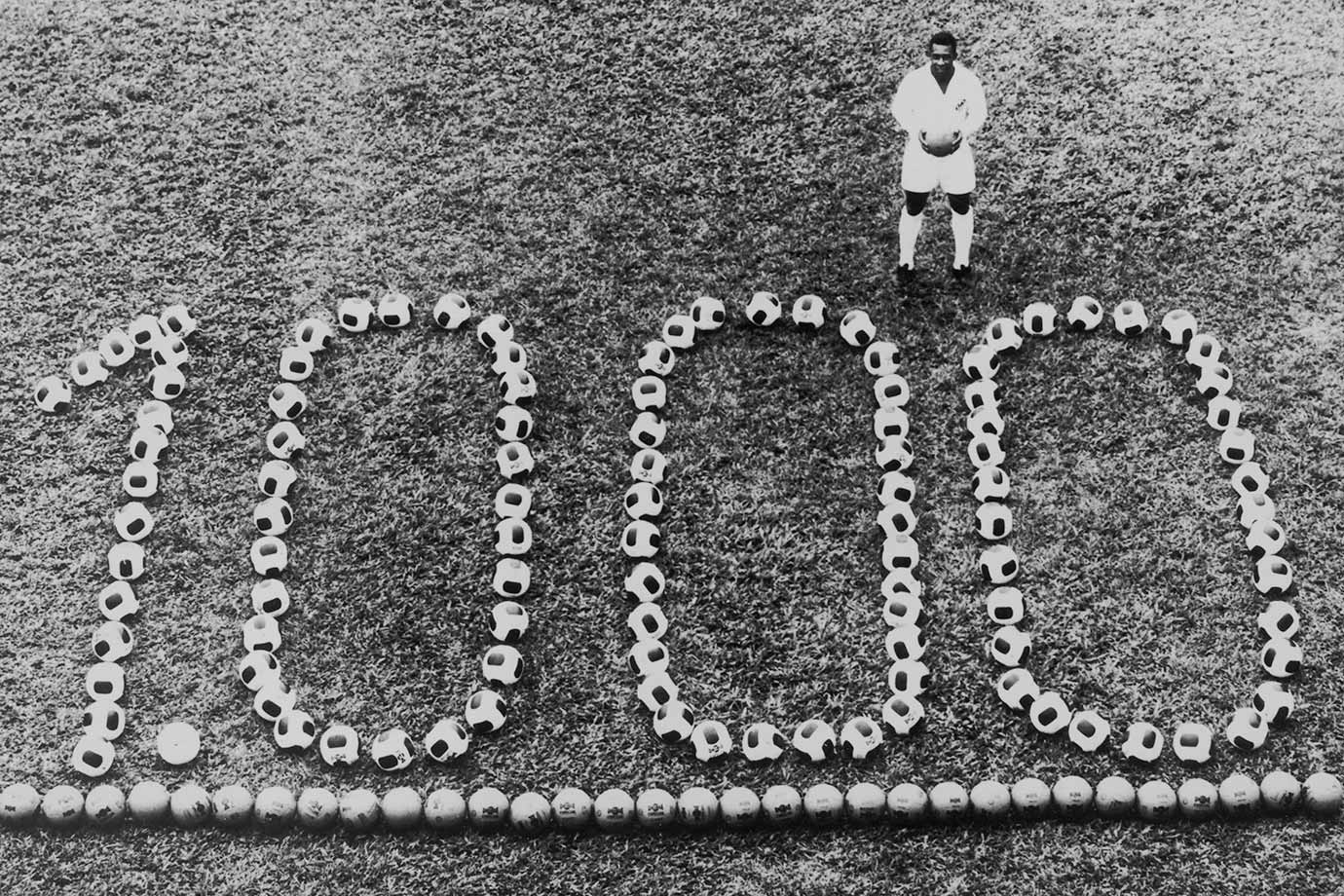 Pelé stands among a display to recognize his 1,000th professional goal on Dec. 14, 1969. He finished with 1,281 goals — making him the top scorer of all time.