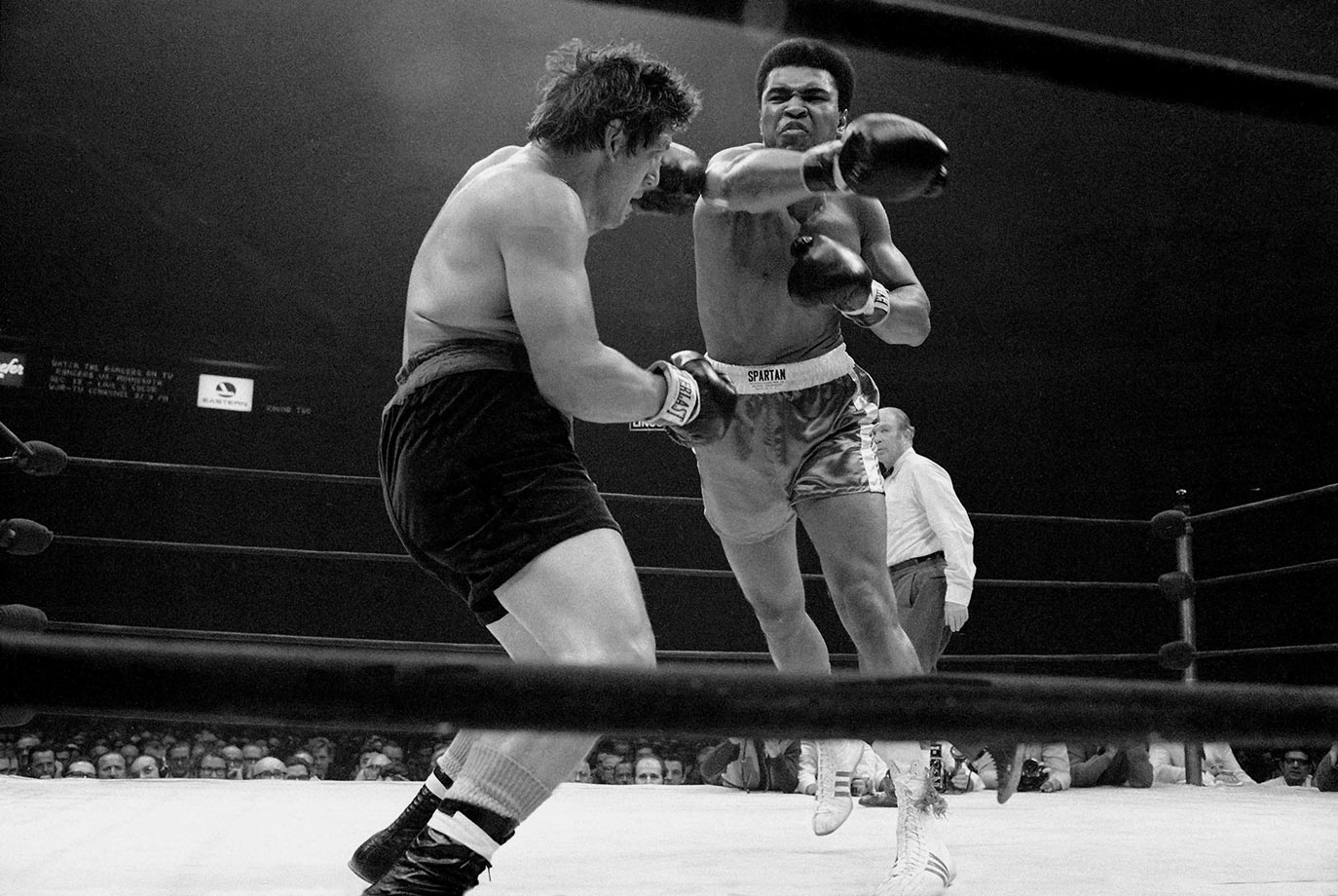 Despite Ali's long layoff, his comeback campaign would include no easy tune-up bouts. He stopped Quarry in three rounds on Oct. 26, 1970, then, just six weeks later — an unthinkably short interlude by today's standards — took on Argentine contender Oscar Bonavena in Madison Square Garden. Here, Ali fires a right at the rugged and awkward Bonavena, who took the fight to the former champion all night.