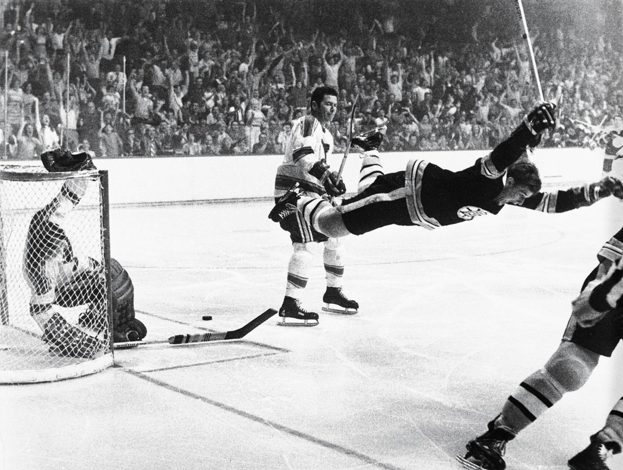 This iconic photo of Bobby Orr captures him in mid-flight moments after scoring the overtime goal against St. Louis in Game 4 of the 1970 Stanley Cup Final that gave the Bruins their first championship in 29 years.