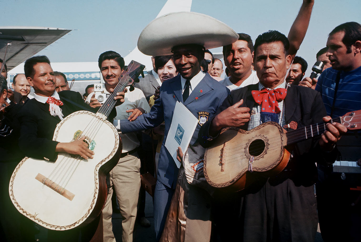 Pelé is greeted by a mariachi band upon his arrival in Mexico for the 1970 World Cup. He'd continue to impress the country over the course of the next month, racking up three goals in Brazil's eventual triumph.