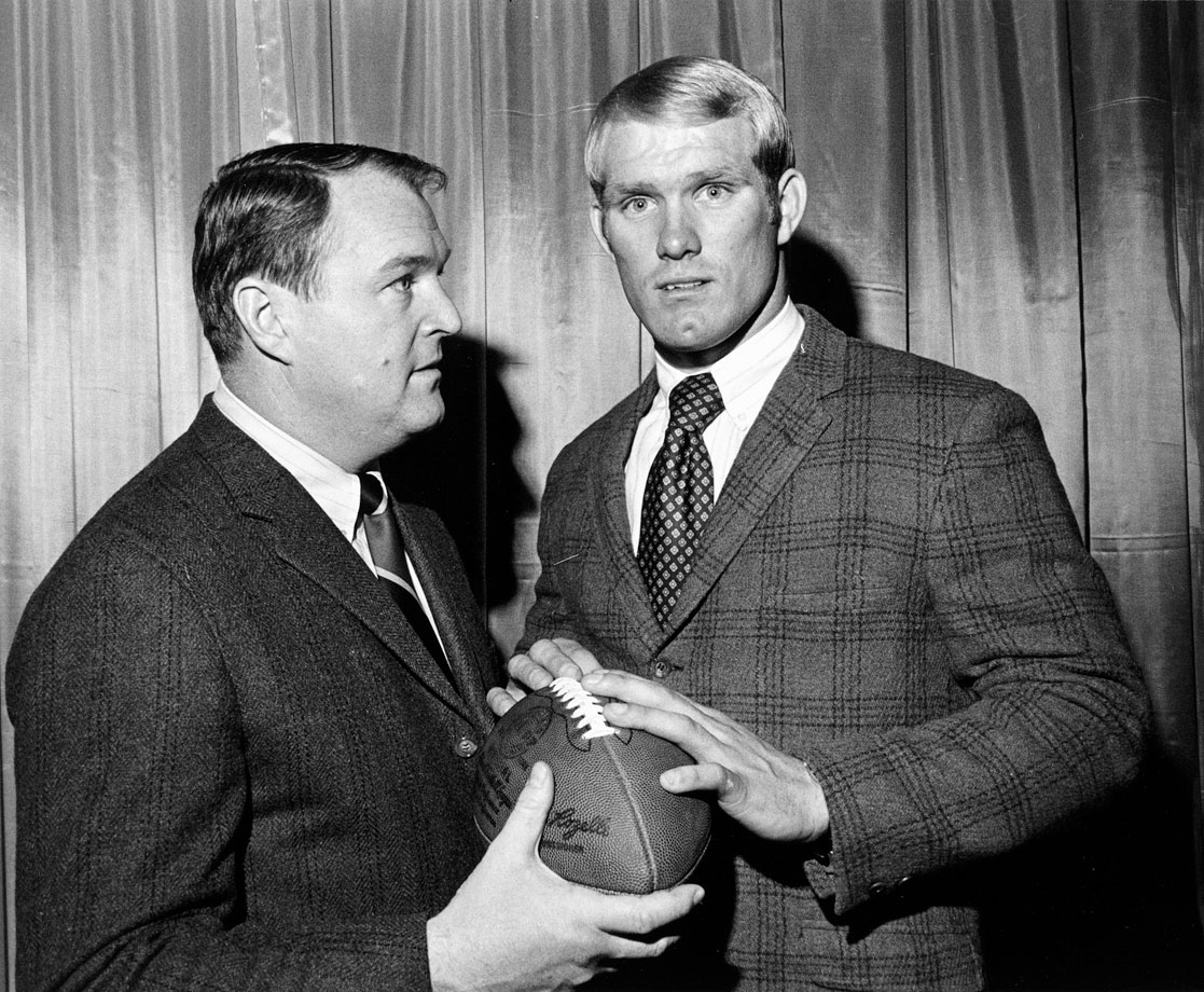 Drafted first overall in the 1970 draft out of Louisiana Tech, Terry Bradshaw poses with his Steelers head coach Chuck Noll.