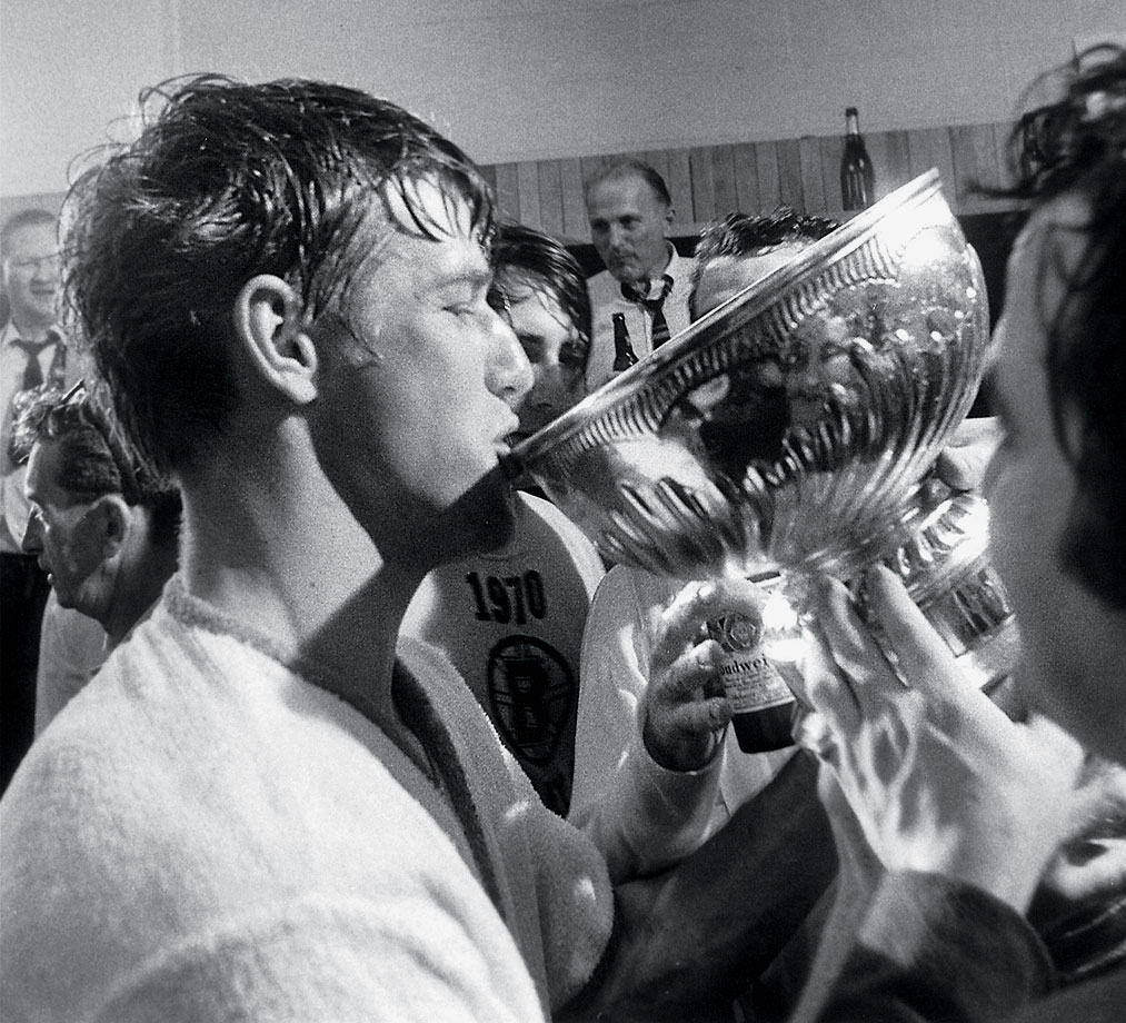 The Bruins had finished dead last in seven of the previous eight seasons before Bobby Orr joined them in 1966. Three years later, he was sipping champagne out of the Stanley Cup after Boston's 4-3 overtime victory over St. Louis in Game 4. The win capped an incredible season for the fleet defenseman, who became the first player ever to win the Norris, Art Ross and Hart trophies in the same year.