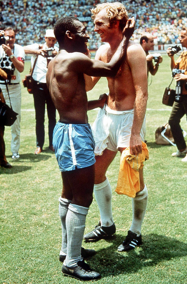 England's Bobby Moore shakes hands with Brazil's Pelé after Brazil defeated England, 1-0, in the 1970 World Cup.