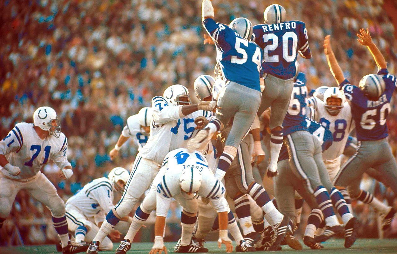 Baltimore Colts rookie kicker Jim O'Brien boots the game-winning field goal with five seconds left over the outstretched arms of the Dallas Cowboys rush.