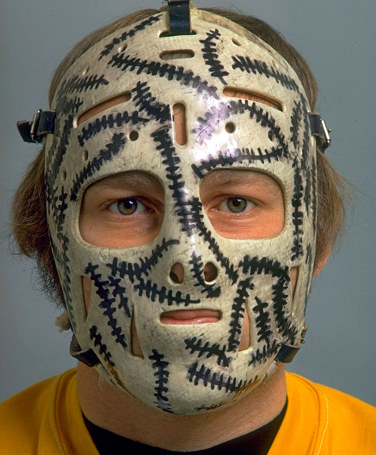 Gerry Cheevers had arguably the most recognizable goalie mask of all time.  The Boston Bruins netminder added stitches to his mask every time a puck struck it. (Posted Oct. 31)