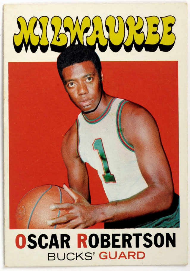 This 1971 Oscar Robertson trading card is on display at the Basketball Hall of Fame in Springfield, Mass.