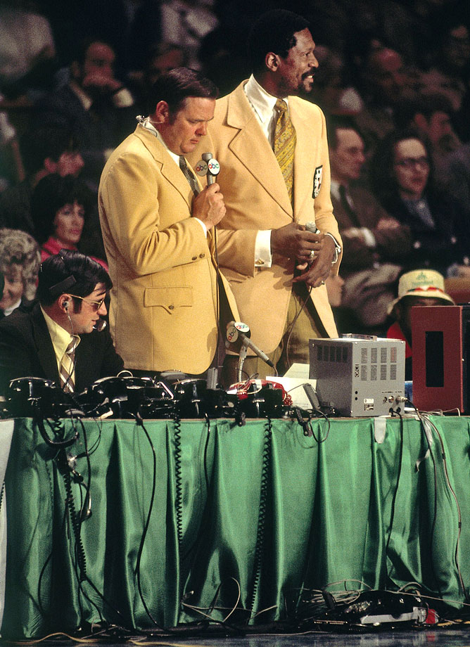 Bill Russell teams with Keith Jackson to broadcast a Celtics game. The former center retired in 1969, after 13 seasons.
