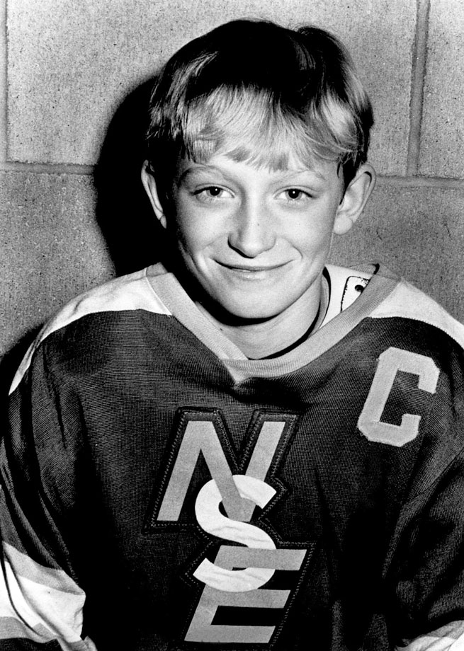 "In one Pee Wee league game, Gretzky potted three goals in 45 seconds. ""He would never come off the ice,"" recalls Darren Eliot, who played against Gretzky in the same league. ""He moved to defense instead of actually taking a break on the bench."""