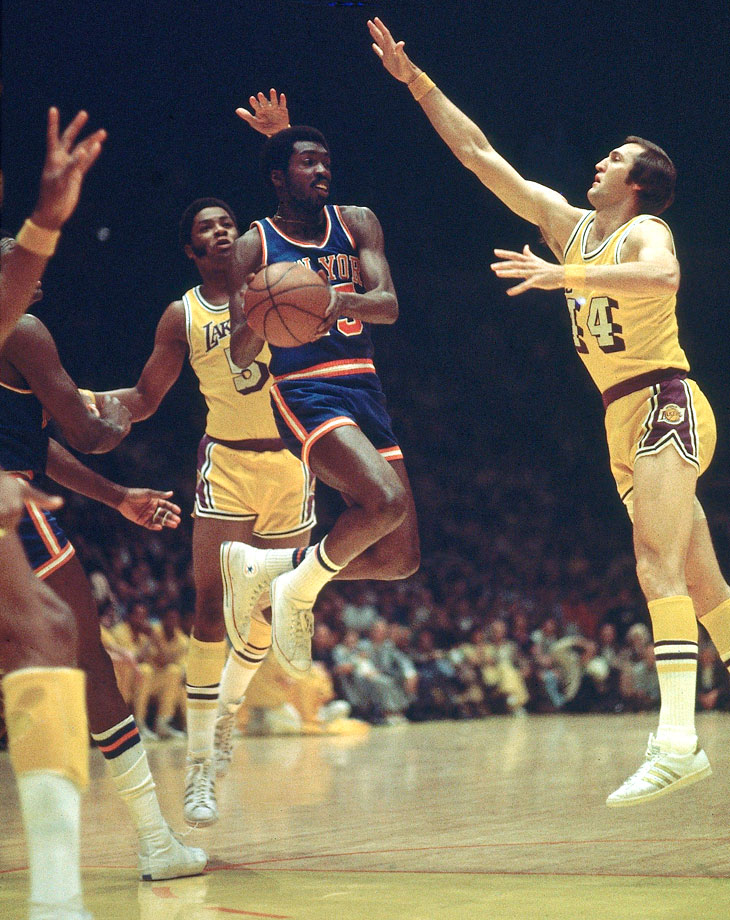 "Earl ""The Pearl"" Monroe, Jerry West and Jim McMillian (left)"