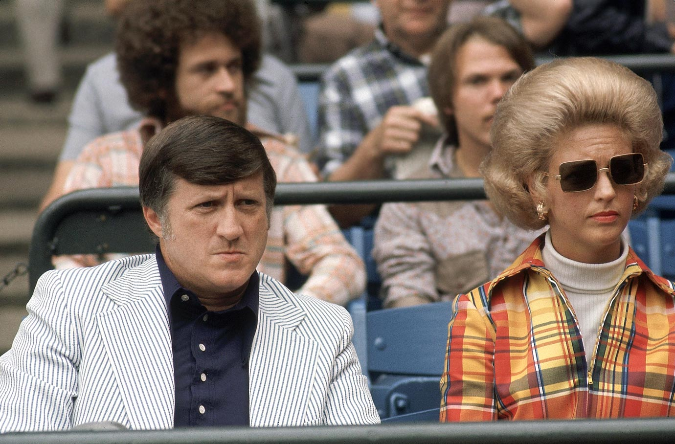 George Steinbrenner and his wife Joan sit in the stands watching Game 2 of a doubleheader between the New York Yankees and the Detroit Tigers on June 24, 1973 at Yankee Stadium in Bronx, N.Y.