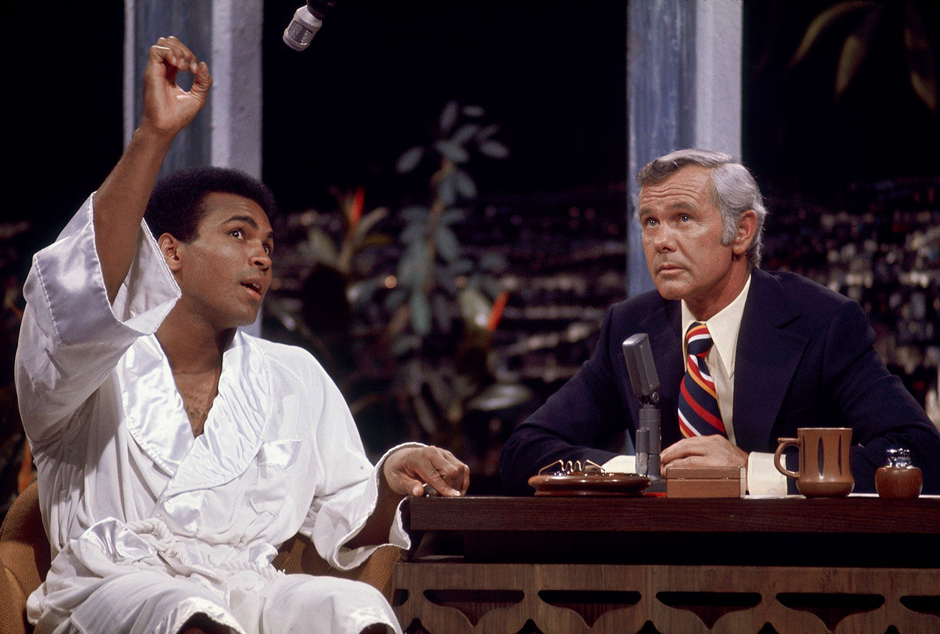 Johnny Carson listens to Ali on the Tonight Show three days before his rematch with Norton. Ali would avenge his earlier loss to Norton, winning a narrow split decision.