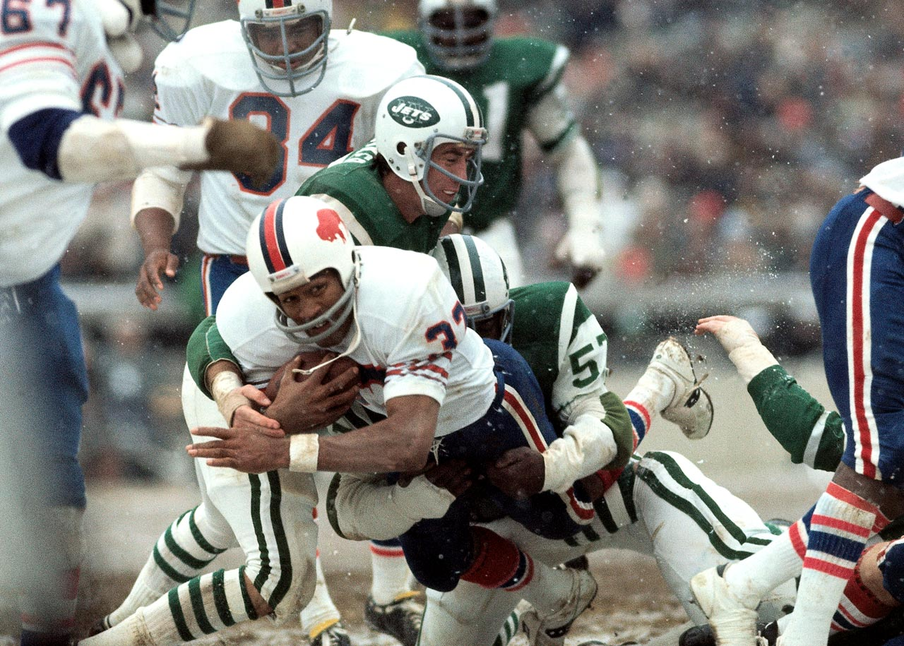 O.J. Simpson broke Jim Brown's single-season rushing record with this carry, and ended the season with 2,003 yards.