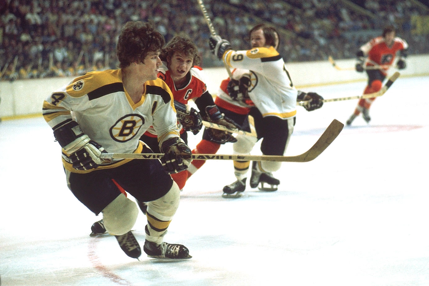 Incessant, painful knee injuries plagued Bobby Orr, who had countless operations and ended up skating on little more than bone on bone. After setting a goal-scoring record for defensemen (46, in 1974-75), his playing time and production declined dramatically.